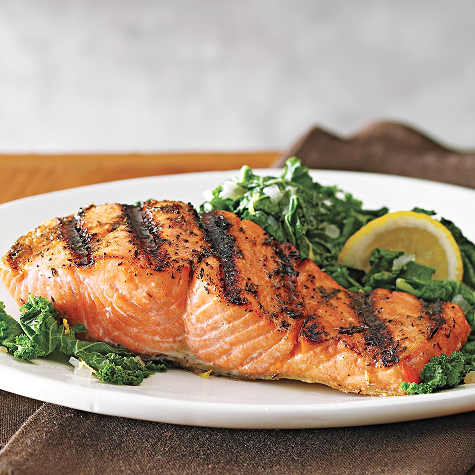 Grilled Salmon with Kale Sauté
